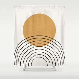 Gold Sun rainbow mid-century full Shower Curtain