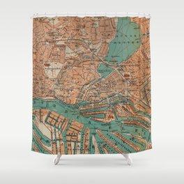 Vintage Map of Hamburg Germany (1910) 2 Shower Curtain