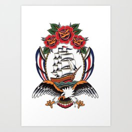 Eagle & Ship Traditional Tattoo Art Print
