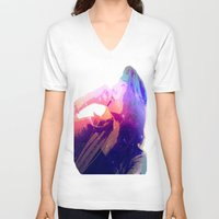 cosmic V-neck T-shirts featuring Cosmic by Monica Selva