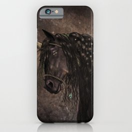 Dreamy Unicorn with brown grunge background iPhone Case