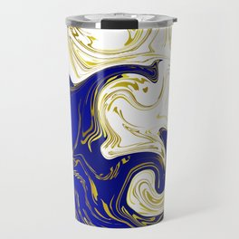 blue ,gold,rose,black,golden fractal, vibrations, circles modern pattern, Travel Mug