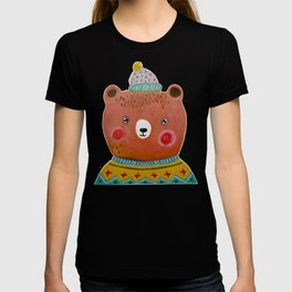 Hand Painted Watercolor Christmas Brown Bear T-shirt