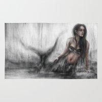 mermaid Area & Throw Rugs featuring Mermaid by Justin Gedak