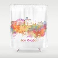 las vegas Shower Curtains featuring Las Vegas Nevada Skyline  by jbjart