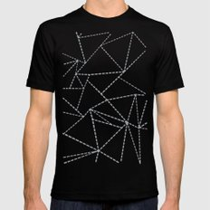 Abstract Dotted Lines Grey Black Mens Fitted Tee MEDIUM