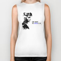 david tennant Biker Tanks featuring David Tennant Dr. Who - The Doctor is In by Noal's Corner