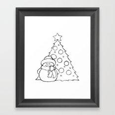 Snowman and Christmas tree AZ01 Framed Art Print