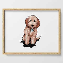 Cute Goldendoodle Puppy Gift Golden Doodle Print Serving Tray