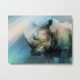 Rhino (Low Poly Cool) Metal Print