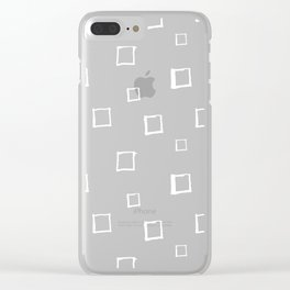 Hand Drawn Abstract Square Pattern - Viridian Green Clear iPhone Case