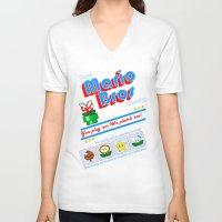 mario bros V-neck T-shirts featuring Super Mario Bros Plumbing by brit eddy
