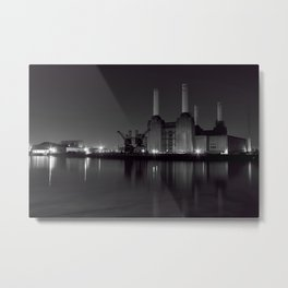 Battersea Power station at night Metal Print