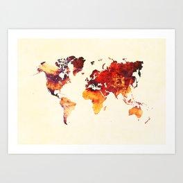world map 89 art red Art Print