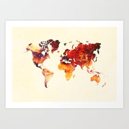 world map 89 art red Art Print