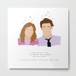Jim & Pam Metal Print