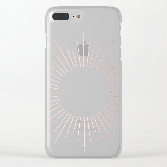 Sunburst Moon Dust Bronze on White Clear iPhone Case