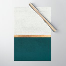 Deep Green, Gold and White Color Block Wrapping Paper