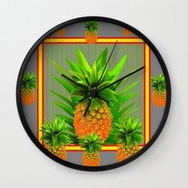 MODERN  GOLDEN  HAWAIIAN PINEAPPLE GREY ART Wall Clock