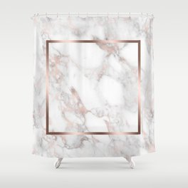 Luxury Rose-gold Faux Marble Shower Curtain