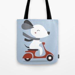 Kawaii Cute Dog Riding A Scooter Tote Bag