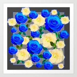 CHARCOAL GREY DECORATIVE WHITE & BLUE ROSE GARDEN Art Print