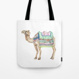 Boho Camel Tassel India Morocco Camel Watercolor Tote Bag
