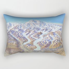 Heinrich Berann - Panoramic Painting of Denali National Park (1994) Rectangular Pillow