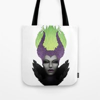 maleficent Tote Bags featuring Maleficent by clayscence