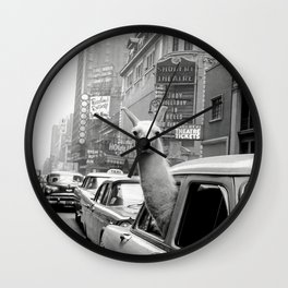 Llama Riding in Taxi, Black and White Vintage Print Wall Clock