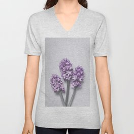 Three Light Purple Hyacinths Unisex V-Neck