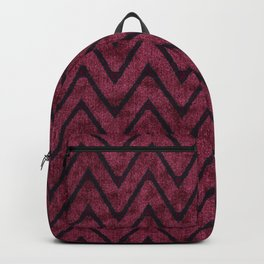 Rich Maroon  Zigzag Chevron Pattern Backpack