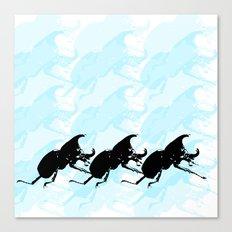 3 Scarabs Blue Canvas Print