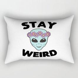 Stay Weird Alien Head Rectangular Pillow