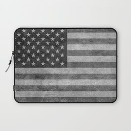 American flag - retro style in grayscale Laptop Sleeve
