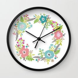 Floral fresh spring wreath Wall Clock