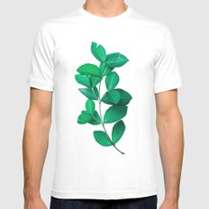Green Leaves in White background Mens Fitted Tee White MEDIUM