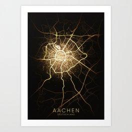 Aachen city night light map Art Print