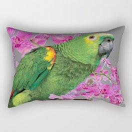 TROPICAL GREEN PARROT & FUCHSIA ORCHIDS  GREY ART Rectangular Pillow