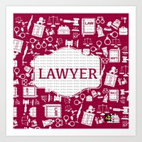 lawyer Art Prints featuring Red Lawyer by Be Raza