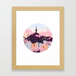 Seoul Tower with Cherry Blossoms Woodblock Style Souvenir Print Framed Art Print