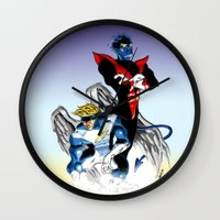 nightcrawler Wall Clocks featuring Angel & Demon by Apoken