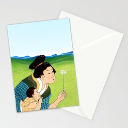 Mrs Hokusai Blows A Dandelion For The Baby Stationery Cards