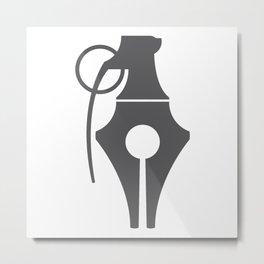 Penade (Pen + Grenade) Metal Print