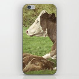 cow and calf in field iPhone Skin
