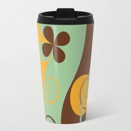 Modern Retro Floral Graphic Art Travel Mug