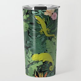 Chameleons And Salamanders In The Jungle Pattern Travel Mug