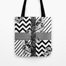 Trendy Black and White Floral Lace Stripes Chevron Tote Bag