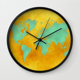 world map gold green #worldmap #map Wall Clock