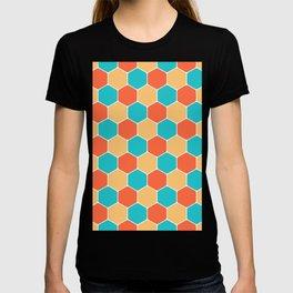 Colorful Turquoise Blue Orange Honeycomb Vintage Seventies Pattern T-shirt